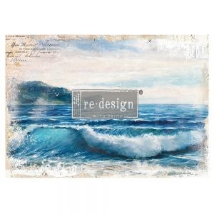 "Blue Wave 24"" x 34""  Redesign with Prima Rub on Decal Decor Transfer"