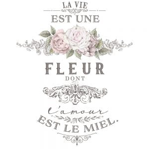 "L'Amour Est Le Miel 26 x 35"" Redesign with Prima Rub on Decal Decor Transfer"