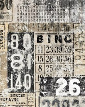 "Load image into Gallery viewer, Grunge Numbers 20"" x 30"" Roycycled Treasures Decoupage Tissue Papers -"