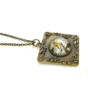 French Bird Vintage Style Square Necklace