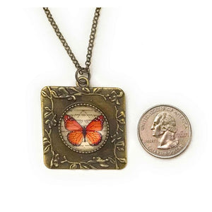 Monarch Butterfly Vintage Style Square Necklace