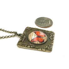 Load image into Gallery viewer, Monarch Butterfly Vintage Style Square Necklace