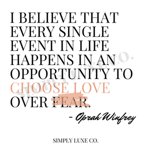 "Oprah Winfrey ""Love over Fear"" Quote Journal Card (3x3 in.)"