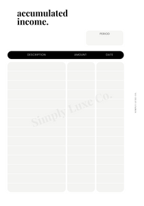 Accumulated Income Printable Insert