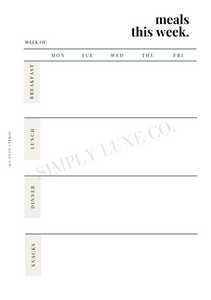 Weekly Meal Planning Printable Inserts (NEW design)