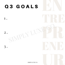 Load image into Gallery viewer, Entrepreneur Quarterly Goals Printable Journaling Card Bundle (3x3 in.)