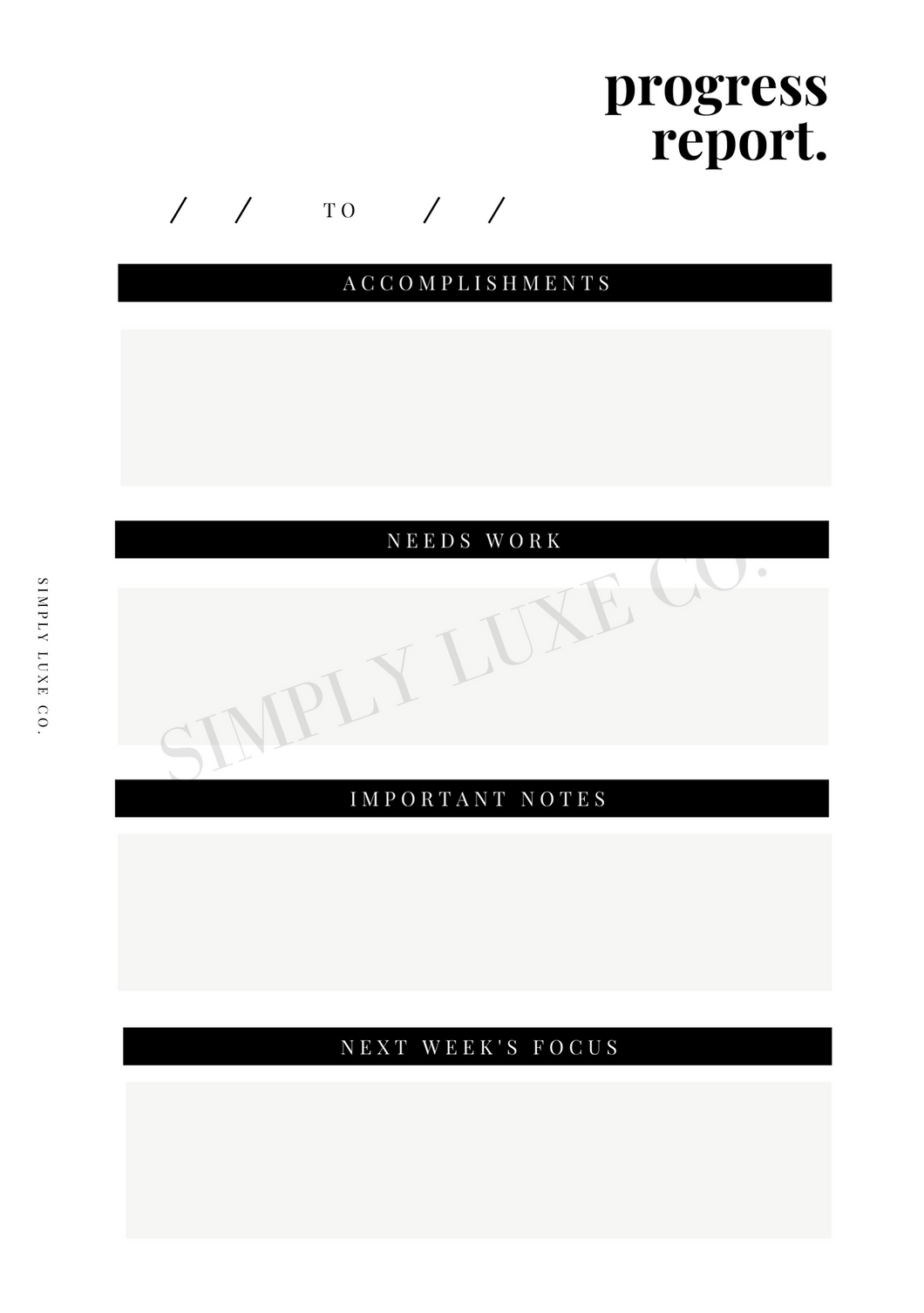Progress Report Printable Inserts (NEW design)