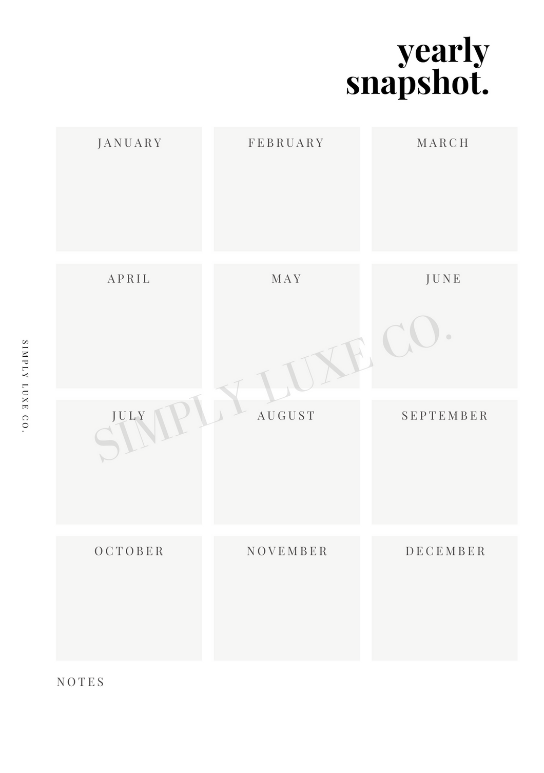 Yearly Snapshot Printable Inserts (NEW Design)