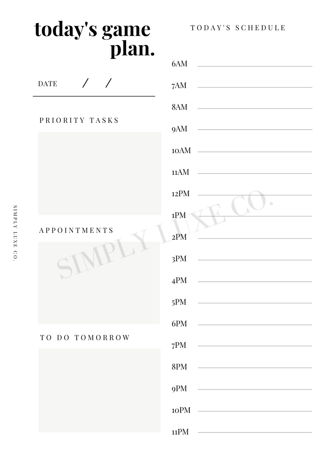 Today's Game Plan Printable Inserts - Available in 2 colors