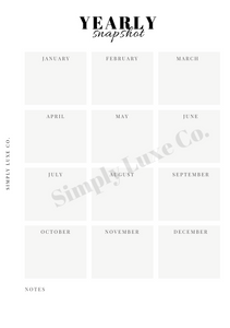 Yearly Snapshot Printable Insert - Available in 2 colors