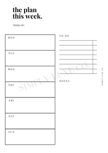 Weekly Undated Printable Inserts - V1 (NEW design)