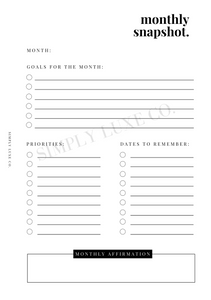 Monthly Snapshot Printable Inserts (NEW design)