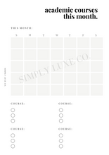 Load image into Gallery viewer, Monthly Academic Course Tracker Printable Inserts (NEW design)