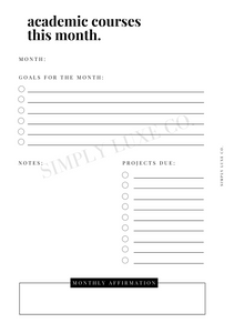 Monthly Academic Course Tracker Printable Inserts (NEW design)