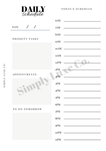 Daily Undated Schedule Printable
