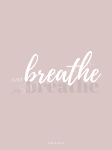 """Just breathe"" Printable Journaling Cards (3x4 in.) - Available in 2 colors"
