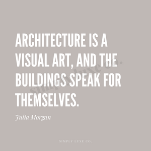 """Architecture is a visual art"" Julia Morgan Quote Printable Journaling Card (3x3 in.)"