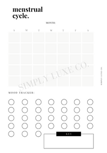 Menstrual Cycle Calendar Printable Inserts - Available in 2 colors