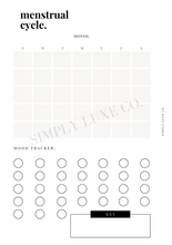 Load image into Gallery viewer, Menstrual Cycle Calendar Printable Inserts - Available in 2 colors