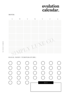 Ovulation Calendar Printable Inserts - Available in 2 colors
