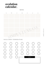 Load image into Gallery viewer, Ovulation Calendar Printable Inserts - Available in 2 colors
