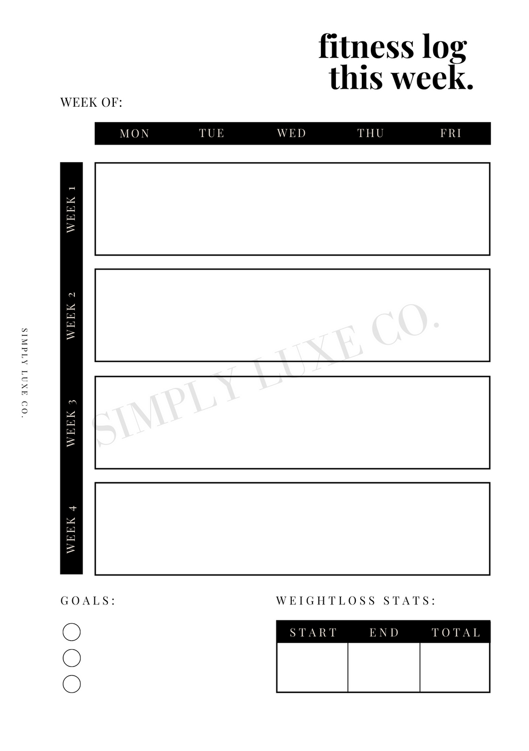 Fitness Log Printable Inserts