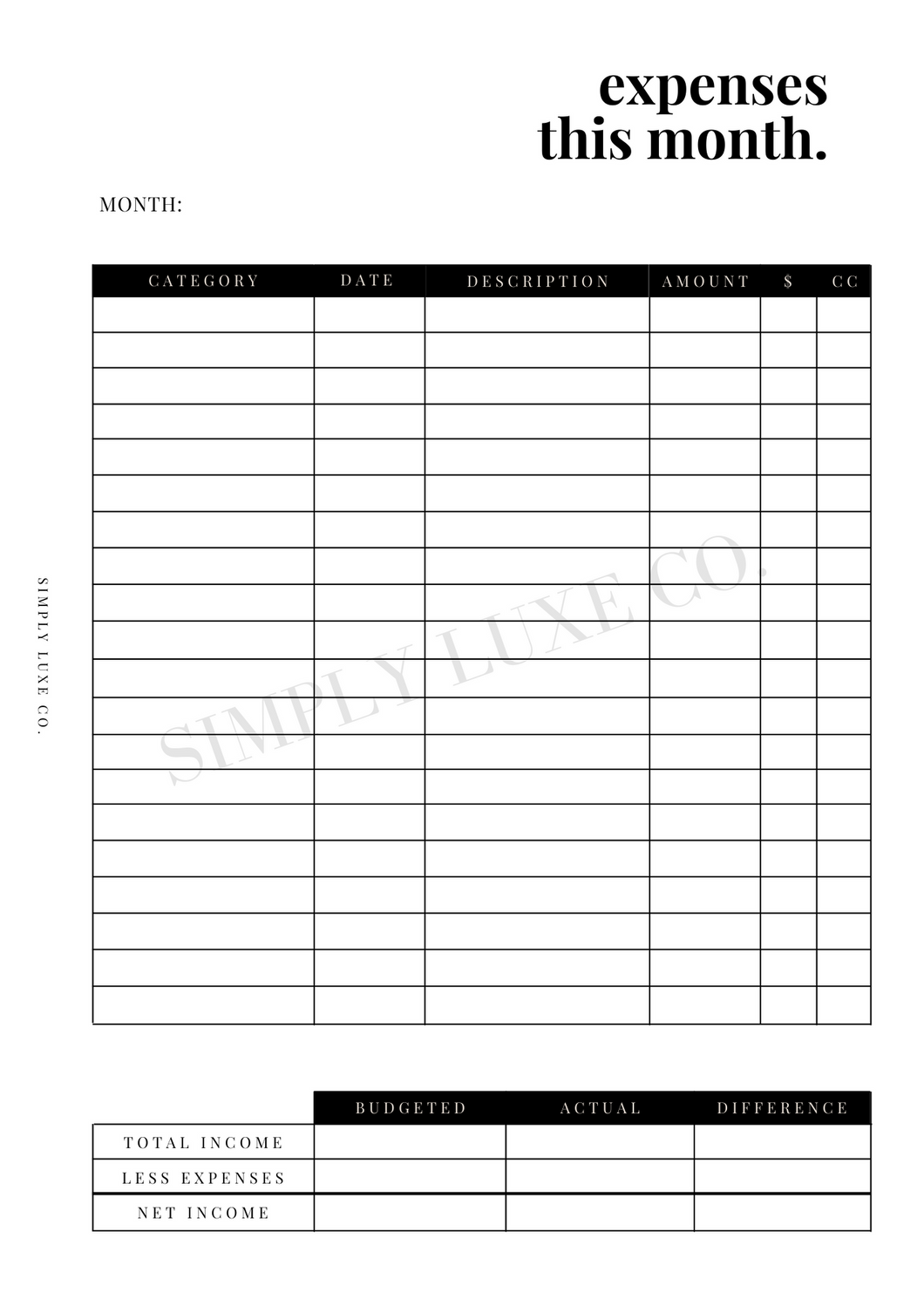 Monthly Expenses Printable Inserts (NEW design)