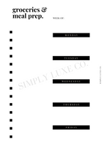 Load image into Gallery viewer, Groceries & Meal Prep Printable Inserts (NEW design)