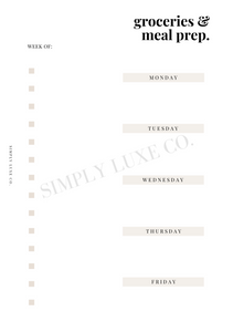 Groceries & Meal Prep Printable Inserts (NEW design)
