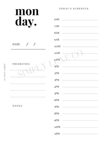 Undated Days Printable Insert Bundle - Monday thru Sunday w/ Weekly Overview - Available in 2 colors
