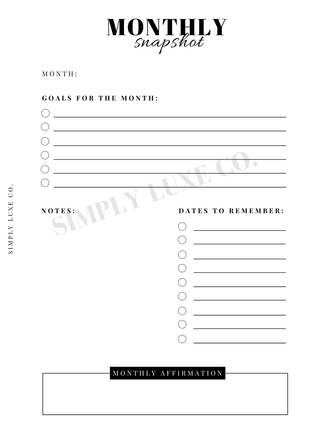Monthly Snapshot Printable