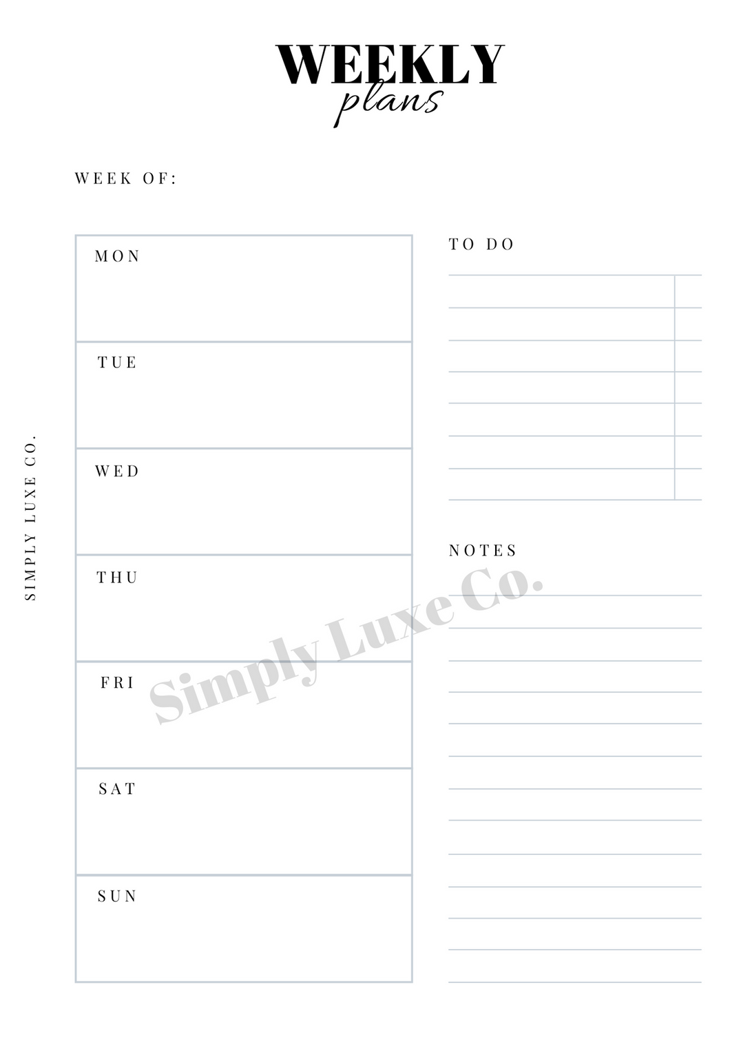 Weekly Undated Printable