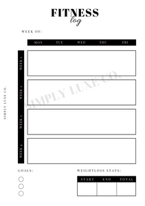 Fitness Log Printable
