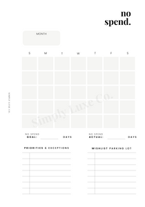 No Spend Printable Insert