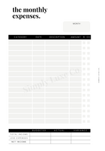 Load image into Gallery viewer, The Monthly Expenses Printable Insert