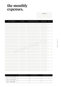 The Monthly Expenses Printable Insert