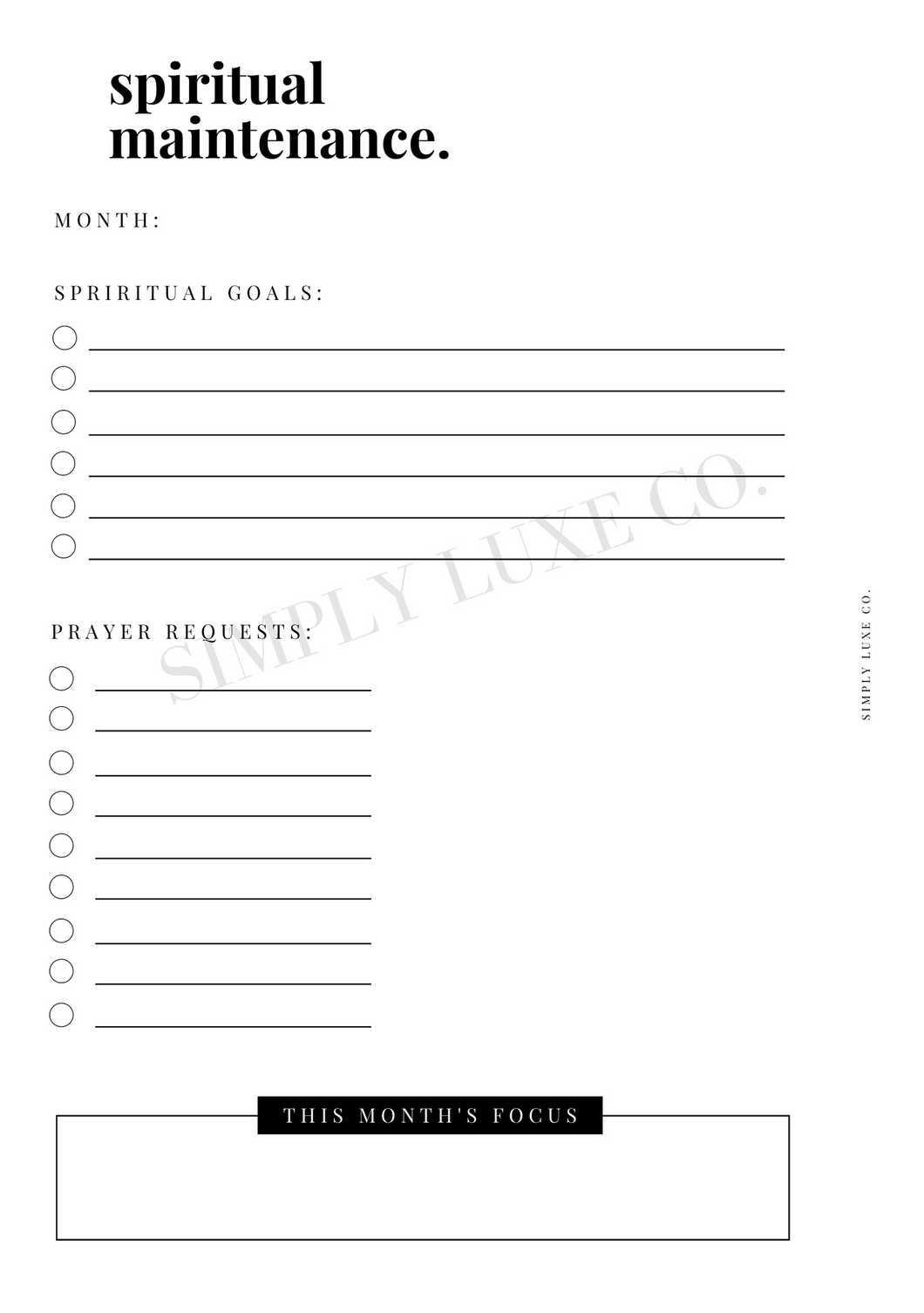 Spiritual Maintenance Printable Insert