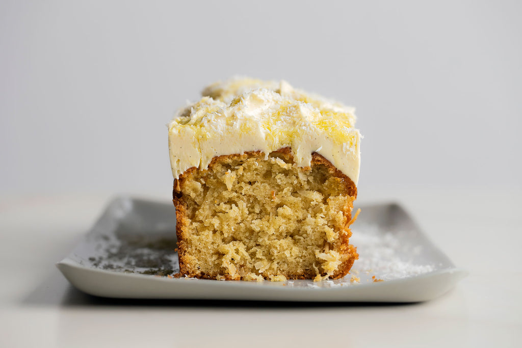 Olive Oil Coconut Cake with Olive Oil Spiked Cream  Cheese Frosting