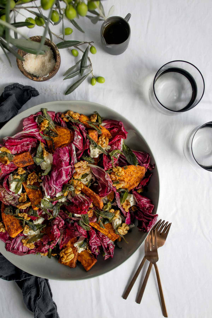 Radicchio & Roasted Sweet Potato Salad with Olive Oil Toasted Walnuts & Sage