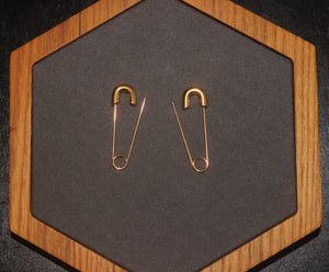 Gold Plated Punk Safety Pin Cartilage Minimalist Dangle Hoop Earrings