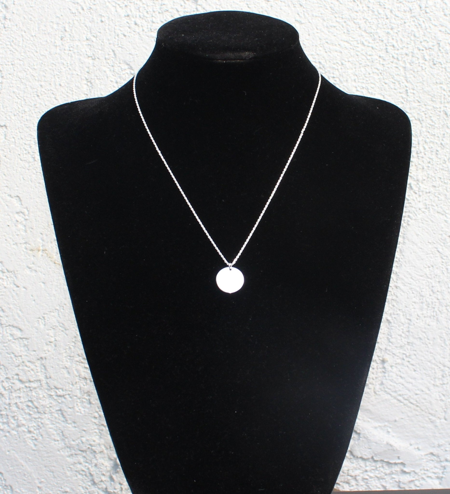 925 Sterling Silver Dainty Minimalist Disk Circle Pendant Diamond Cut Rope Chain Necklace