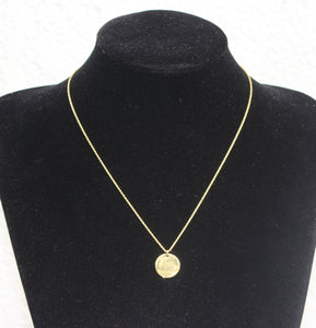 Gold Dainty Minimalist Disk Circle Pendant Diamond Cut Rope Chain Necklace