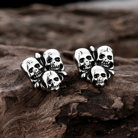 Trendy Punk Skull Stud Stainless Steel Earrings Push Back Clasp