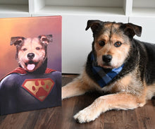 Load image into Gallery viewer, Good Boy Art - Superman Custom Dog and Cat Superhero Portrait
