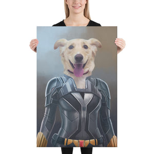 Good Boy Art - Black Widow Custom Dog and Cat Superhero Portrait