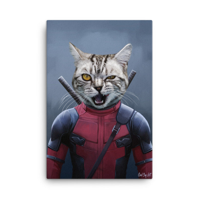 Good Boy Art - Deadpool Custom Pet Superhero Portrait