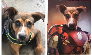 Good Boy Art - Iron Man Personalized Dog and Cat Superhero Painting