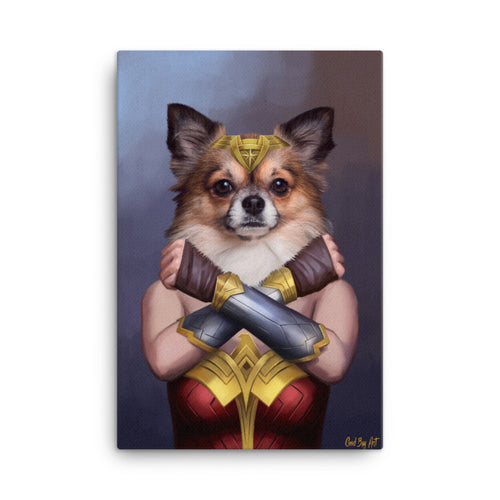 Good Boy Art - Wonder Woman Custom Pet Superhero Portrait