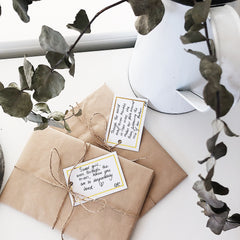 product packaging, beautiful paper with twine and personalised poem