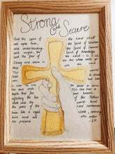 Load image into Gallery viewer, close of up prophetic poem with drawing of hand holding cross, close up